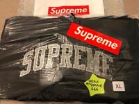 SUPREME Water Arc Hooded Sweatshirt with SUPREME Sticker and Bag - Size XL - Black.Genuine-DEADSTOCK