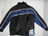 CHILD'S PADDED BIKER JACKET - NEW TAGS ATTACHED, WATERPROOF, SIZE 6 - 9 YEARS