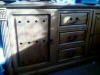 solid pine table chairs side board