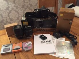 Nikon D3000 10.2MP DSLR with 18-55mm & 18-105mm lenses + Extras