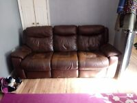 3 seater brown leather recliner sofa cheap