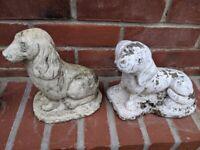 2 STONE DOGS GARDEN ORNAMENTS 26cm L x 20cm H x 12cm W, 18cm L x 23cm H x 11cm W