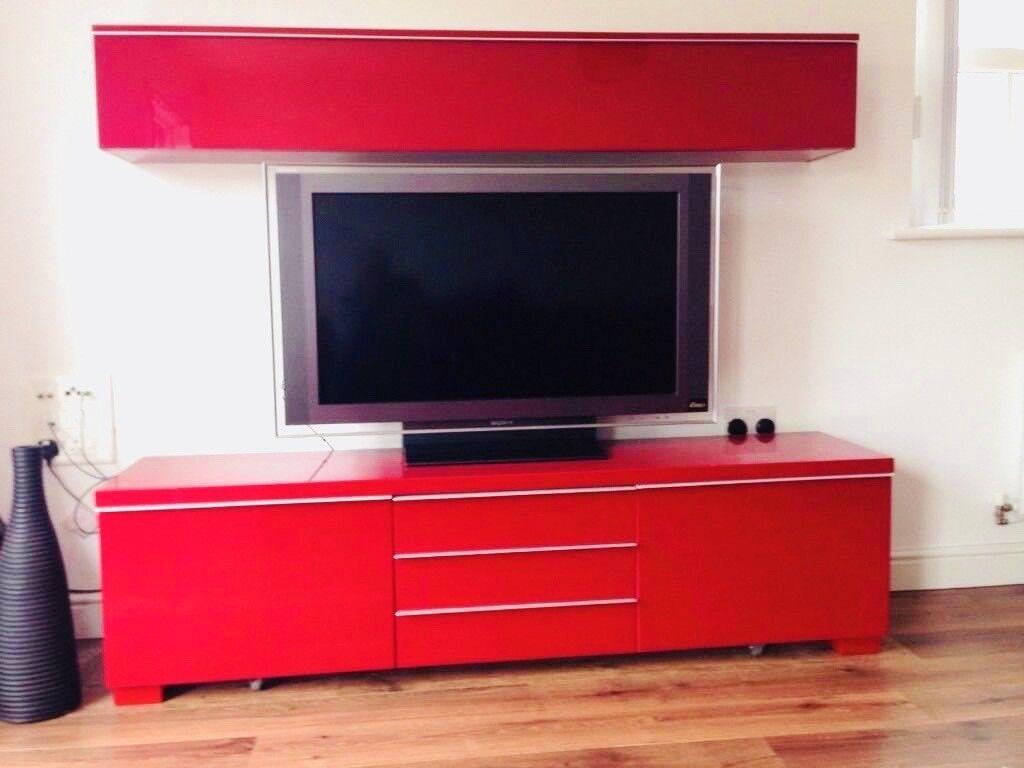 ikea besta burs gloss red tv stand, drawer, media unit | in