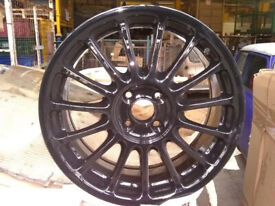 17 INCH BLACK MULTISPOKE ALLOYS 100 MM PCD WILL FIT BMW MINI MG ROVER ETC MINT CONDITION AS REFURBED