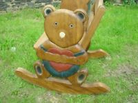 HAND MADE CARVED SOLID WOOD TODDLER/CHILDS NURSERY ROCKING CHAIR WITH TEDDY BEAR AND HEART SIDES