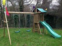 Dunster House Wooden Swing and Slide set