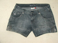 grey cotton, jeans denim shorts with pockets, summer, size M