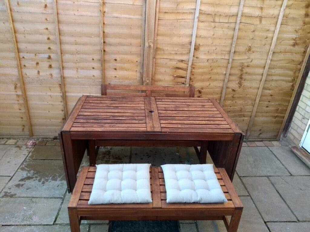 Astonishing Garden Table And Bench Seats Ikea Applaro Drop Leaf Table In Stotfold Hertfordshire Gumtree Pabps2019 Chair Design Images Pabps2019Com