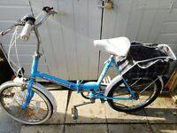 vintage unisex blue universal folding bike with back storage and lock