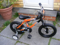 """BOYS 14"""" WHEEL BIKE WITH FITTED STABILISERS IN GREAT WORKING ORDER AGE 4+"""
