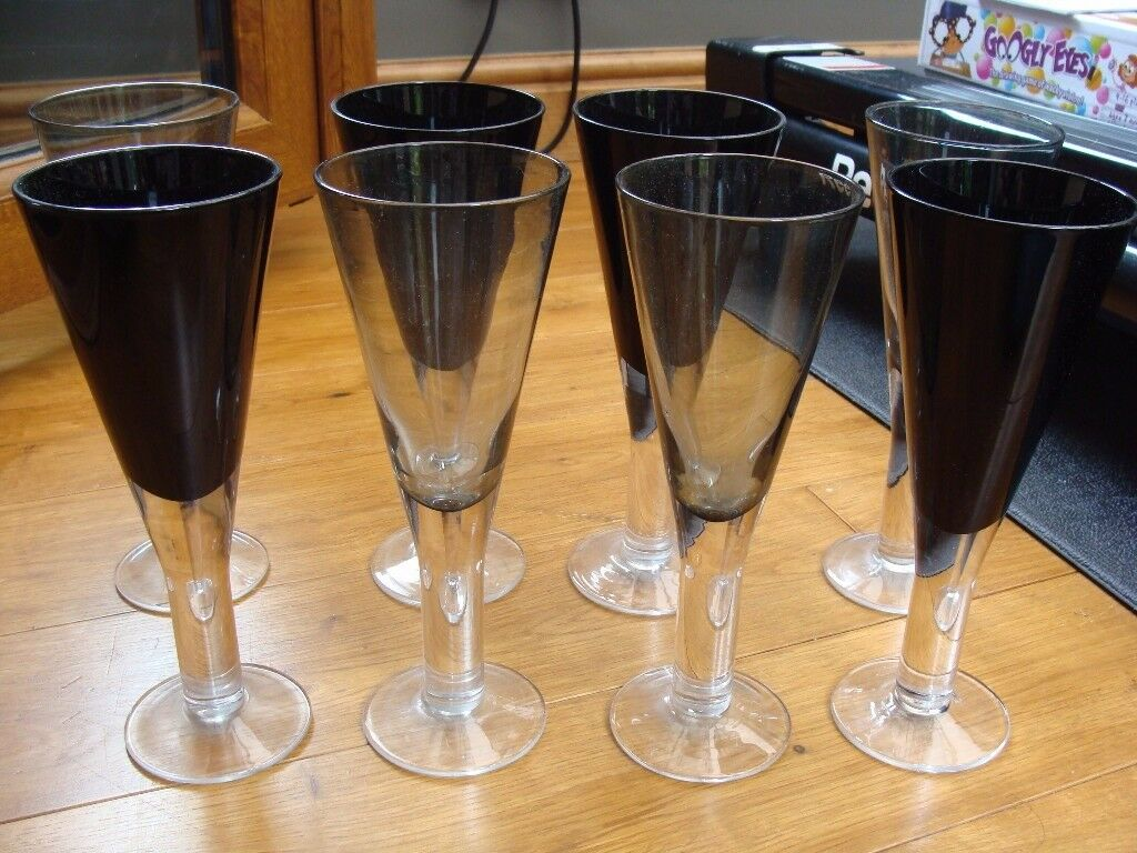 4 Smoked Glass Fluted Style Glasses (also selling in black separately)