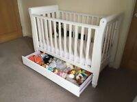Babymore Eva Sleigh Cot Bed - Dropside with Drawer (white)