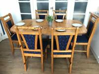Pine table extendable and 6 chairs *Delivery available