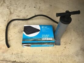 Inflatable double mattress and stirrup pump £5 for immediate collection (near Malmesbury)