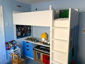 Stuva Loft Bed combination with wardrobe addition