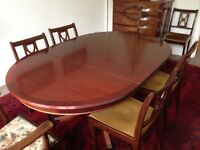 Semi antique mahogany dining table and 8 chairs