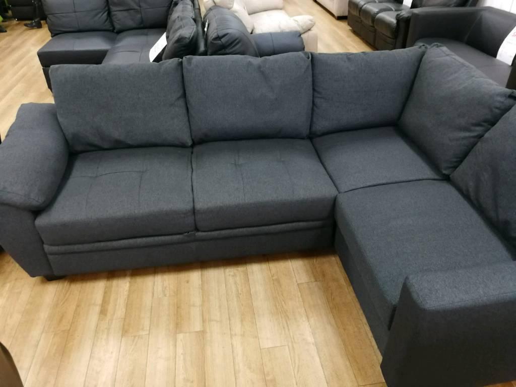 Grey Fabric Corner Sofa Kudos Corner Portobello Cord Black