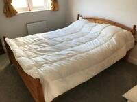 Kingsize pine bed and mattress