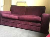 Burgundy two/three seat sofa, excellent condition, great quality, cost £1250 new.