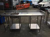 Stainless steel table top with sink for restaurant takeaway cafe cafe shop bar