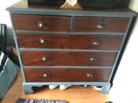 Large 5 draw wooden upcycled chest of drawers