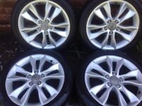 Audi Alloy Wheels 17 INCH white Tyres like New, Audi ORGINAL GENUINE OEM, 5x112, 225/45/17