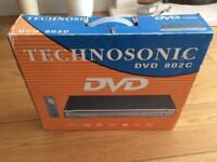 Technosonic DVD player. Model no. 802C with box, packaging, instructions and remote control.