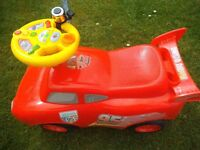 red sit on car childs