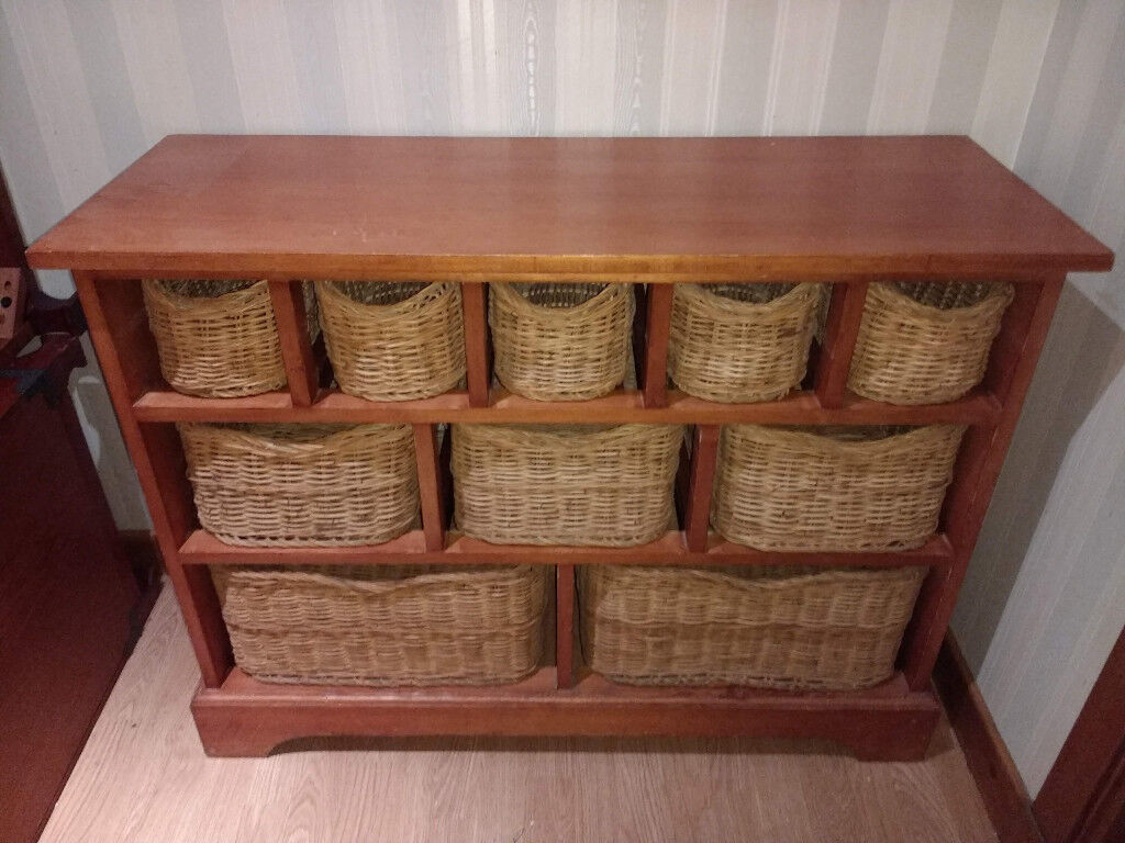 Sideboard Console Table With Storage Baskets Drawers Solid Wood