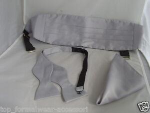 Silver-GREY-Self-tie-Bow-tie-Cummerbund-Hankie-Instructions-P-P-2UK-1st-CL