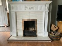 Fireplace Surround - Wood with Marble Hearth & Back Panel, Cast Iron Fittings