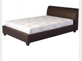 Brand New Chocolate Leather Double Bed and Mattress