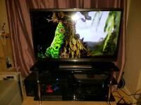 "Panasonic viera 47"" 3D HD TV WITH BLACK GLASS STAND"