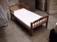 Pine toddler captain bed with mattress 145cm x 75cm