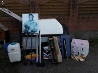 QUALITY JOBLOT INCLUDING COVERED TRAILER ,PINE UNIT, CHAIRS,TOYS,SHOES, CAR DOG GUARD ETC