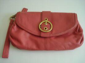 de58c4660b86 COACH CLUTCH BAG pink leather with wrist strap medium size front buckle