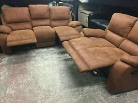 Brown suede 2 and 3 seater fully reclining sofas
