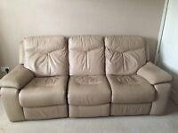 Three seater full leather recliner sofa