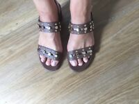 Italian leather gold studded brown sandals