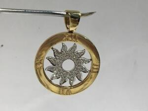 #1527 14K HALLMARKED YELLOW AND WHITE GOLD SUN CLOCK PENDANT *JUST BACK FROM APPRAISAL AT $3450.00 SELLING FOR $1195.00*