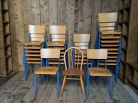 FRENCH stacking chairs x28 full size high quality top condition industrial cafe bar UK gplanera