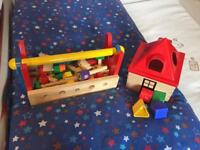 Wooden tool bench and shape sorter
