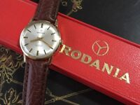 Vintage 9k 9ct 375 gold Rodania Mens Swiss watch with Box