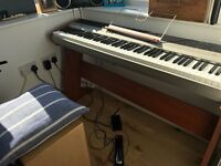 Korg SP-300 keyboard, with wooden stand, music stand, bag, pedal, headphone jack - needs repairs!