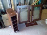Wooden Wine Rack with Frosted Glass Doors and Drawer Front - Ideal for mini bar build Project