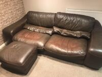 DFS Brown Leather 3 Seater Sofa & Footstool **free**