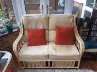 Two Seater Conservatory Sofa and two chairs with glass top coffee table
