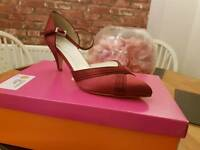Size 5 red satin bridesmaids shoes