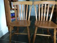 Old waxed wooden farmhouse chairs x 4