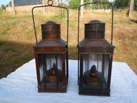 Pair of Antique Paraffin Oil Hurricane Lamps 1 x Copper 1 x Brass